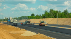Works on asphalting the highway, time-lapse Stock Footage