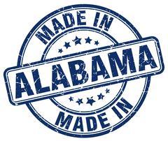 made in Alabama blue grunge round stamp - stock illustration