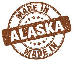Made in Alaska brown grunge round stamp Stock Illustration