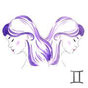 Watercolor Gemini girl - stock illustration