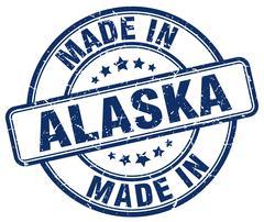 made in Alaska blue grunge round stamp - stock illustration