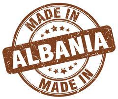 made in Albania brown grunge round stamp - stock illustration