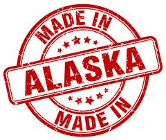 Made in Alaska red grunge round stamp Stock Illustration