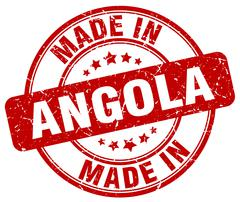 Made in Angola red grunge round stamp Stock Illustration