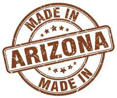 made in Arizona brown grunge round stamp - stock illustration