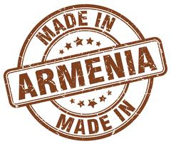 made in Armenia brown grunge round stamp - stock illustration