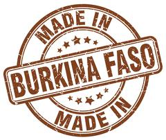 Made in Burkina Faso brown grunge round stamp Stock Illustration