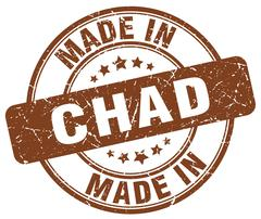 Made in Chad brown grunge round stamp Stock Illustration