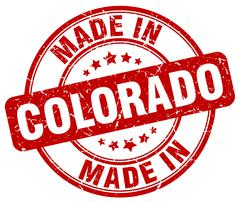 Made in Colorado red grunge round stamp Stock Illustration