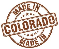 Made in Colorado brown grunge round stamp Stock Illustration