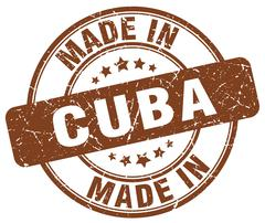 made in Cuba brown grunge round stamp - stock illustration