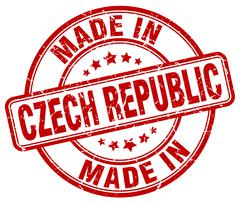 made in Czech Republic red grunge round stamp - stock illustration