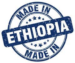 Made in Ethiopia blue grunge round stamp Stock Illustration