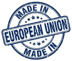 made in european union blue grunge round stamp - stock illustration