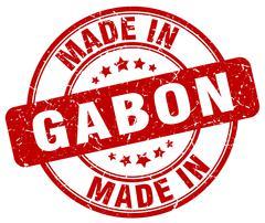 Made in Gabon red grunge round stamp Stock Illustration