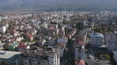 Ohrid city and lake aerial view Stock Footage
