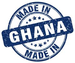 Made in Ghana blue grunge round stamp Stock Illustration