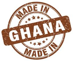 Made in Ghana brown grunge round stamp Stock Illustration