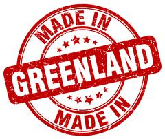 made in Greenland red grunge round stamp - stock illustration