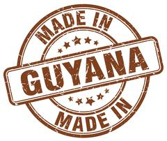 made in Guyana brown grunge round stamp - stock illustration