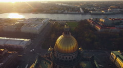 Aerial view of Isaac's Cathedral in Saint-Petersburg - stock footage