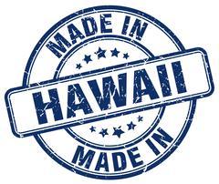 made in Hawaii blue grunge round stamp - stock illustration