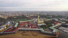 Aerial view of Peter and Paul Fortress in Saint-Petersburg Stock Footage