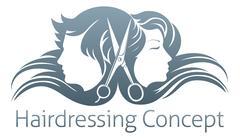 Man and woman hairdresser scissors concept Stock Illustration