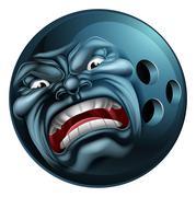 Angry Bowling Ball Sports Cartoon Mascot Stock Illustration