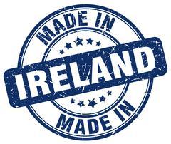 made in Ireland blue grunge round stamp - stock illustration