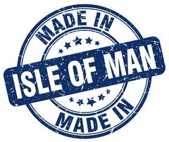 made in Isle Of Man blue grunge round stamp - stock illustration