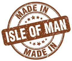 made in Isle Of Man brown grunge round stamp - stock illustration