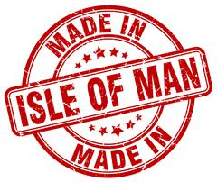 made in Isle Of Man red grunge round stamp - stock illustration