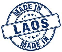 made in Laos blue grunge round stamp - stock illustration