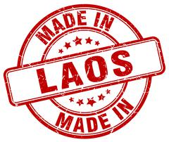 Made in Laos red grunge round stamp Stock Illustration