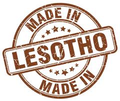 Made in Lesotho brown grunge round stamp Stock Illustration