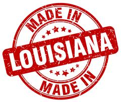 made in Louisiana red grunge round stamp - stock illustration