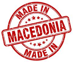 Made in Macedonia red grunge round stamp Stock Illustration