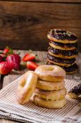 Homemade donuts two kinds - stock photo