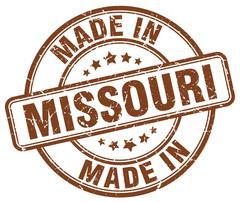 made in Missouri brown grunge round stamp - stock illustration