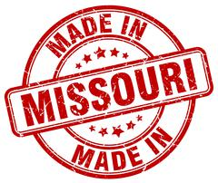 made in Missouri red grunge round stamp - stock illustration