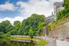 riverside walk next to the kilkenny castle - stock photo