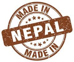 Made in Nepal brown grunge round stamp Stock Illustration