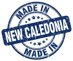 Made in New Caledonia blue grunge round stamp Stock Illustration