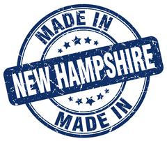 Made in New Hampshire blue grunge round stamp Stock Illustration