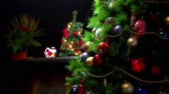 Christmas decorations on a beautiful tree - stock footage
