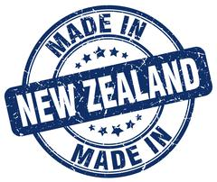 Made in New Zealand blue grunge round stamp Stock Illustration