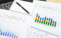 Sale analysis report show result of growth success charts and graphs on docum Stock Photos