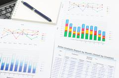 Growth rate of Sale analysis report show success result as charts and graphs  Stock Photos