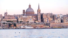 View on Valletta St. Paul's Anglican Cathedral and belltower of Charmelite Ch Stock Footage